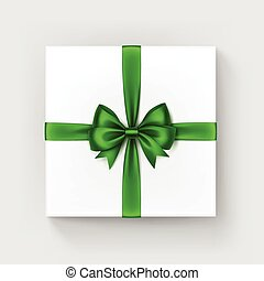 Square Gift Box with Shiny Green Bow and Ribbon