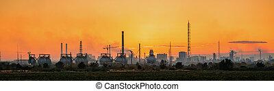 Industrial landscape on sunset - Industrial landscape of...