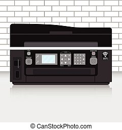 Multifunction printer in modern office with brick wall....