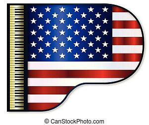 Grand Piano USA Flag - The Stars and Stripes flag set into a...