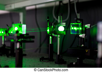 green lasers in the laboratory, laser beams among the...