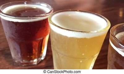 Different beer types - A selection of light and dark beer