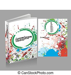 book cover design isolated over colorfull background.