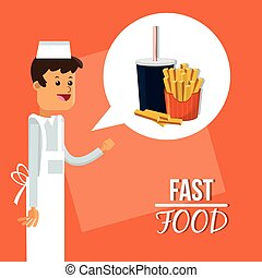 soda french fries and fast food design