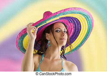 summer girl with sombrero - summer portrait of a cute girl...