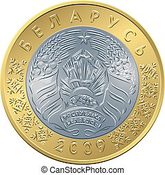 obverse new Belarusian Money two ruble coin - vector obverse...