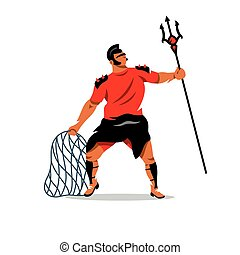 Vector Gladiator with trident and net Cartoon Illustration....