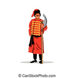 Vector Antique Russian halberdier Cartoon illustration. -...