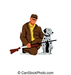Vector Hunting. Hunter with dog Cartoon Illustration. - Man...