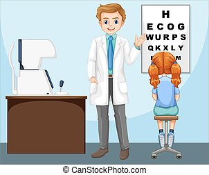 Ophthalmologist working in clinic illustration