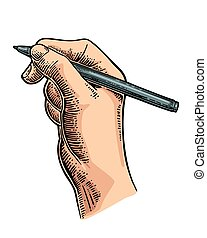 Female hand holding a pencil. Vector black vintage engraving