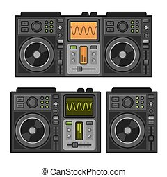 Dj Sound Mixer Set. Flat Design Style. Vector illustration