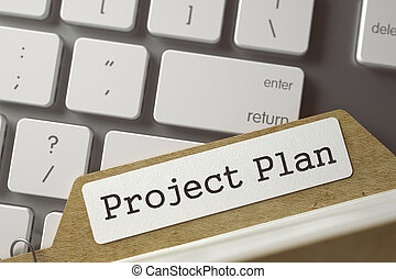 Card File with Project Plan. 3D Illustration. - Project...