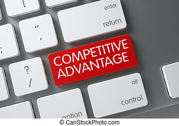 Red Competitive Advantage Keypad on Keyboard. 3D...