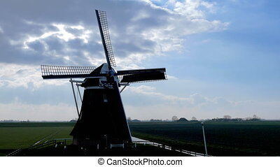Historic windmill rotate backlight - Historic windmill makes...