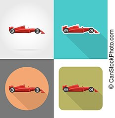 sport car flat icons vector illustration isolated on...