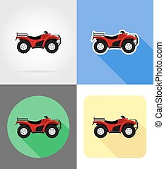 atv motorcycle on four wheels off roads flat icons vector illustration