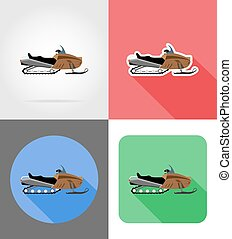 snowmobile for snow ride flat icons vector illustration...