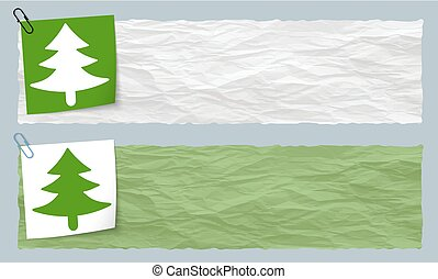 Two banners of crumpled paper with tree symbol