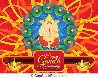abstract artistic detailed ganesha chaturthi background