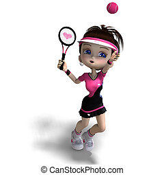 sporty toon girl in pink clothes plays tennis 3D rendering...
