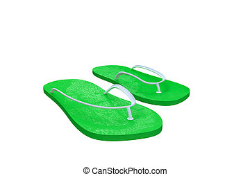 flip-flop - 3d illustration of green flip flop isolated on...
