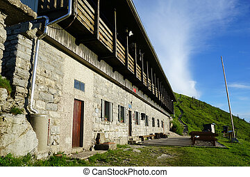 Mountain hut - Wall of mountain hut on the top of mount...