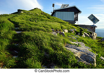 Mountain hut - Footpath and mountain hut on the top of mount...