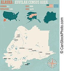 Kuvilak census Area in Alaska - Large and detailed...