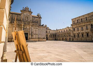Piazza del Duomo, city center of Lecce, Italy