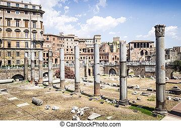 Ruins of Forum Romanum in Rome, Italy - Ruins of Forum...