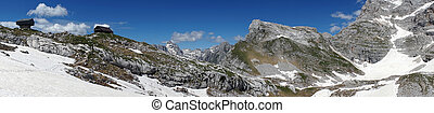 Mountain hut - Panorama of Triglav mount with mountain hut