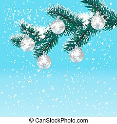 Christmas, New Year's card. Silver balls on Christmas tree branch. Gradient blue background. Falling snow. illustration