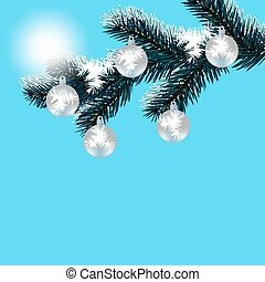 Christmas, New Year's card. Frosty winter day. Silver balls on a snow-covered tree branch. Falling snow. illustration