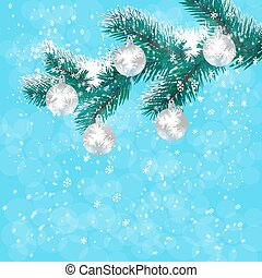 Christmas, New Year's card. Silver balls on a branch blue Christmas tree. Background of falling snow. illustration
