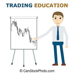 Trade mentor at the flipchart. Trading education concept....