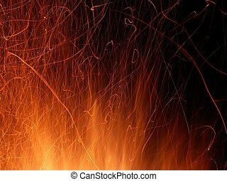 Flame and Sparks - A whirl of flame and sparks light up the...