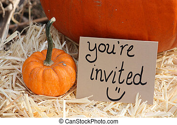 Youre Invited Pumpkin Sign - pumpkin with youre invited sign...