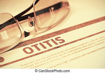 Otitis Medicine Concept on Red Background 3D Illustration -...