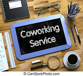 Coworking Service - Text on Small Chalkboard. 3D Rendering....