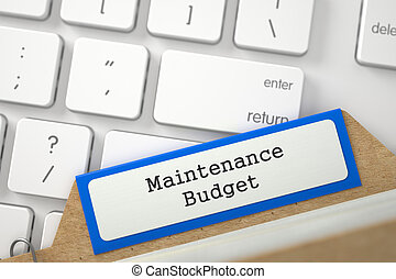 Index Card with Maintenance Budget 3D Rendering - Blue Card...