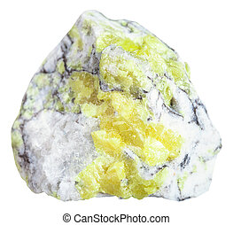 sulfur brimstone, sulphu vein in stone isolated - macro...