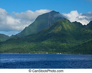 Island of Moorea (French Polynesia) - Ocean view of the...