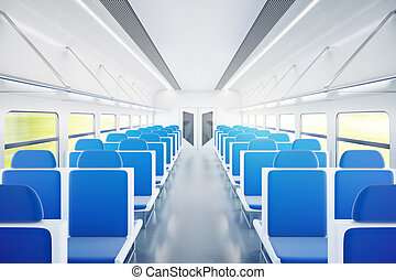 Train interior with blue chairs - Empty passenger train...