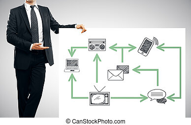 Man showing technology network - Businessman in suit showing...