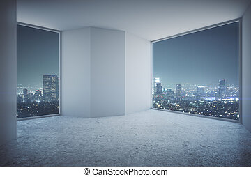 Interior with nigth city view - Modern empty interior with...