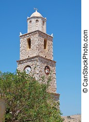 Clock tower, Halki - The old stone clock tower at Emborio on...