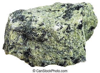 greenish Serpentinite mineral isolated - macro shooting of...