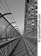 Sydney Harbour bridge walkway - view along the walking path...