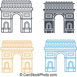 The Arc de Triomphe icons. Triumphal arch in four different...